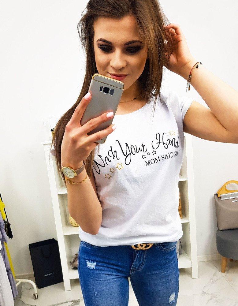 T-shirt damski MOM SAID SO z nadrukiem biały (ry0905)