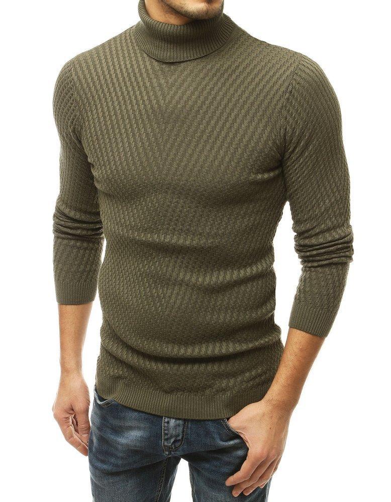 Pánsky khaki rolákový sveter.