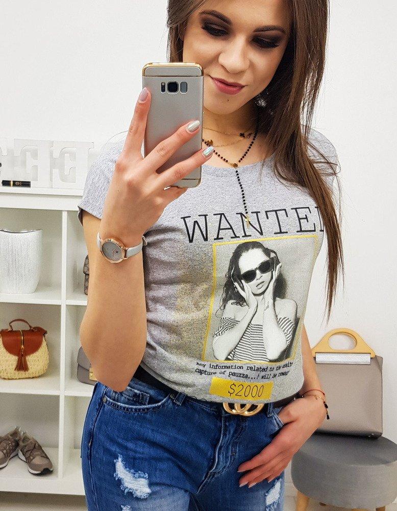 T-shirt damski WANTED z nadrukiem jasnoszary RY0824