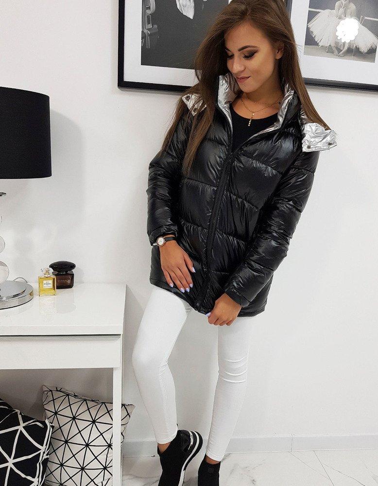 Dámska zimná bunda metalická čierna