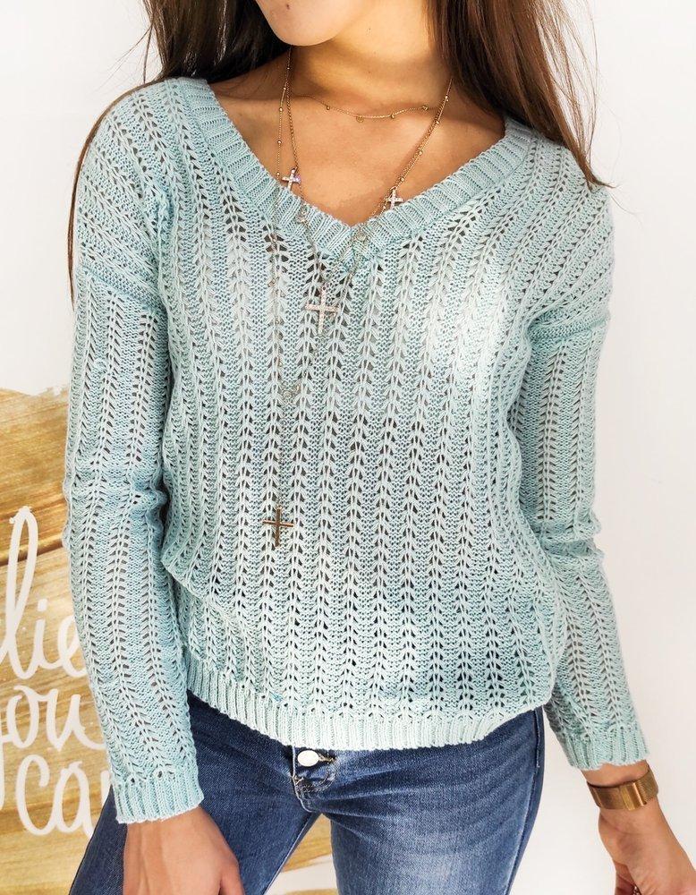 Sweter damski SHALOW miętowy MY0750