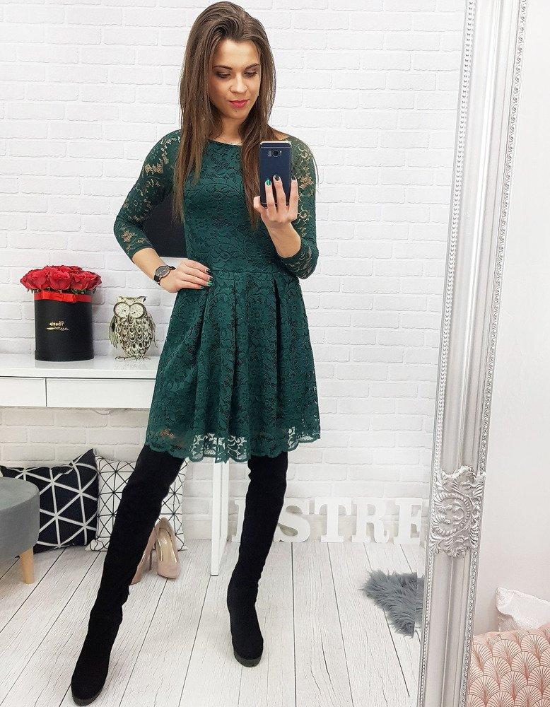 Čipkované zelené šaty s dlhým rukávom (ey0703)