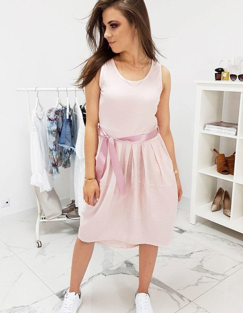 Ružové dámske šaty s vreckami (ey0922)