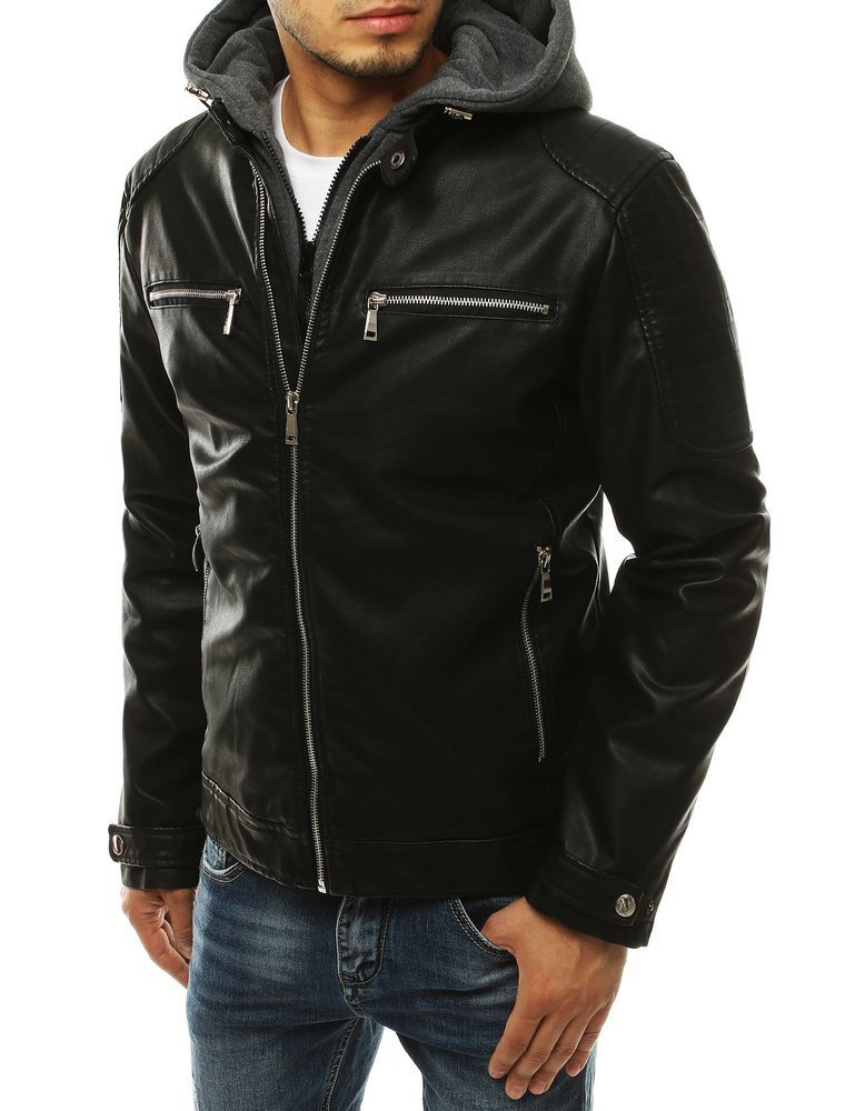 Čierna trendy koženka s kapucňou TX3303
