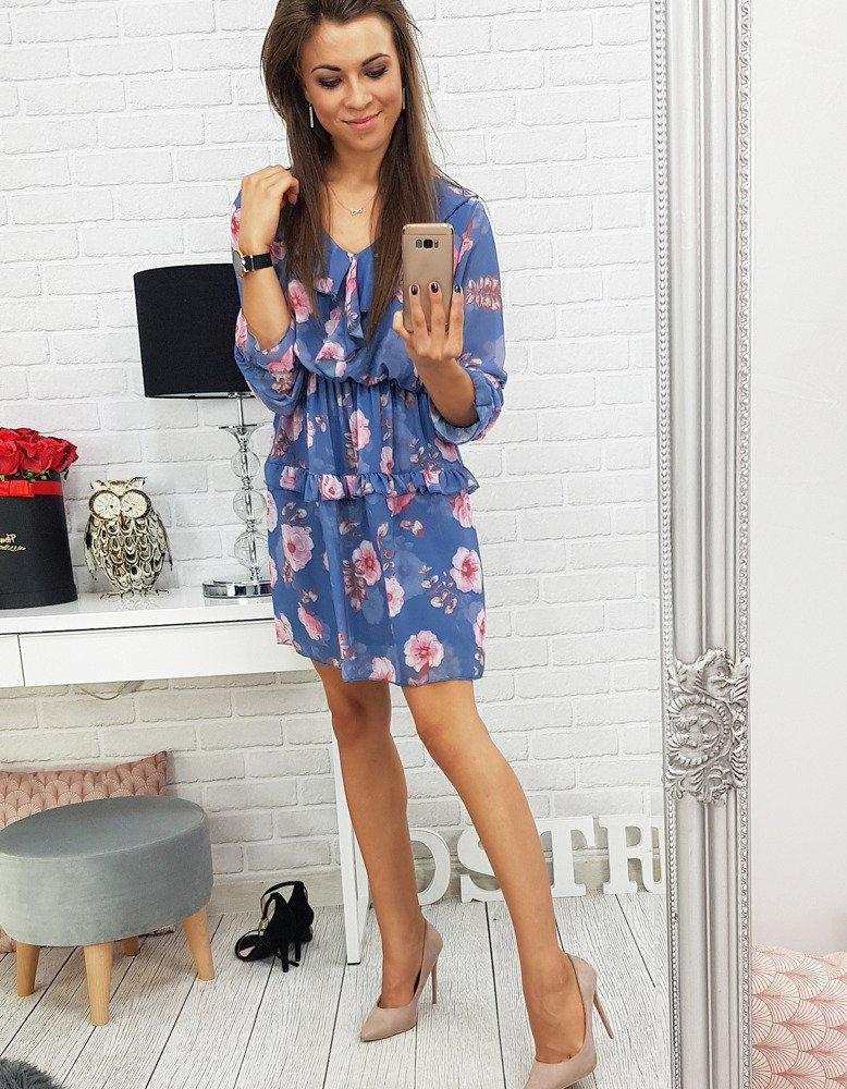 Kvetované modré dámske šaty (ey0514)