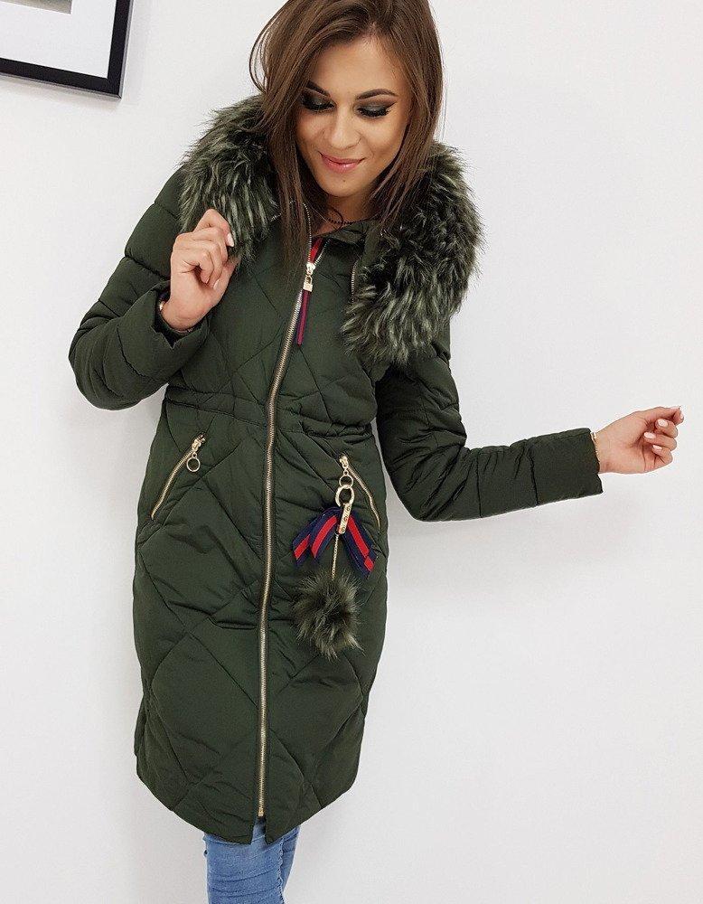 Štýlová khaki dámska zimná bunda (ty0513)