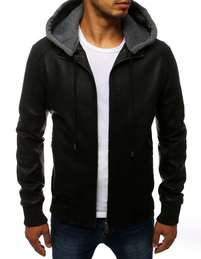Čierna pánska koženková bunda.
