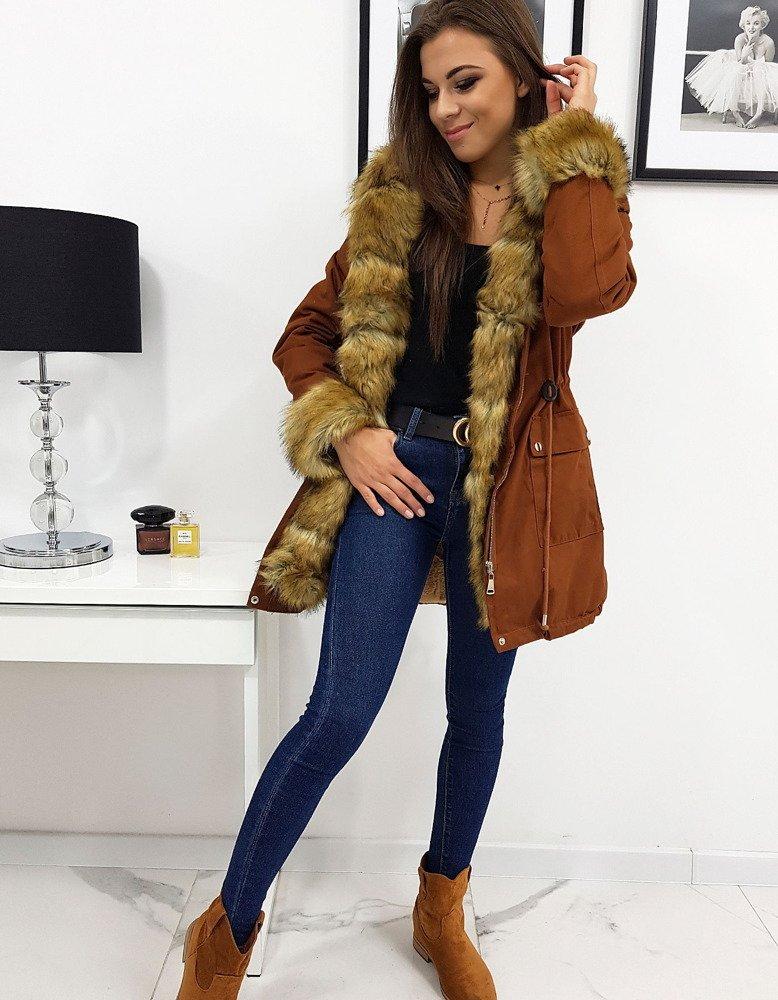 Dámska zimná dámska bunda horčicová