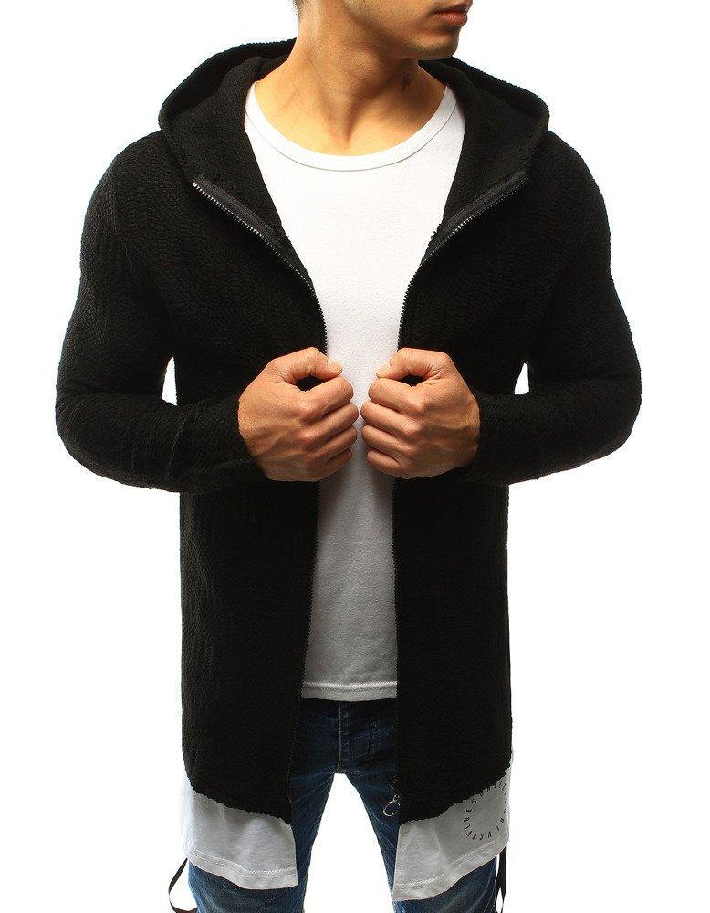 Čierny pánsky sveter s kapucňou (wx0919)