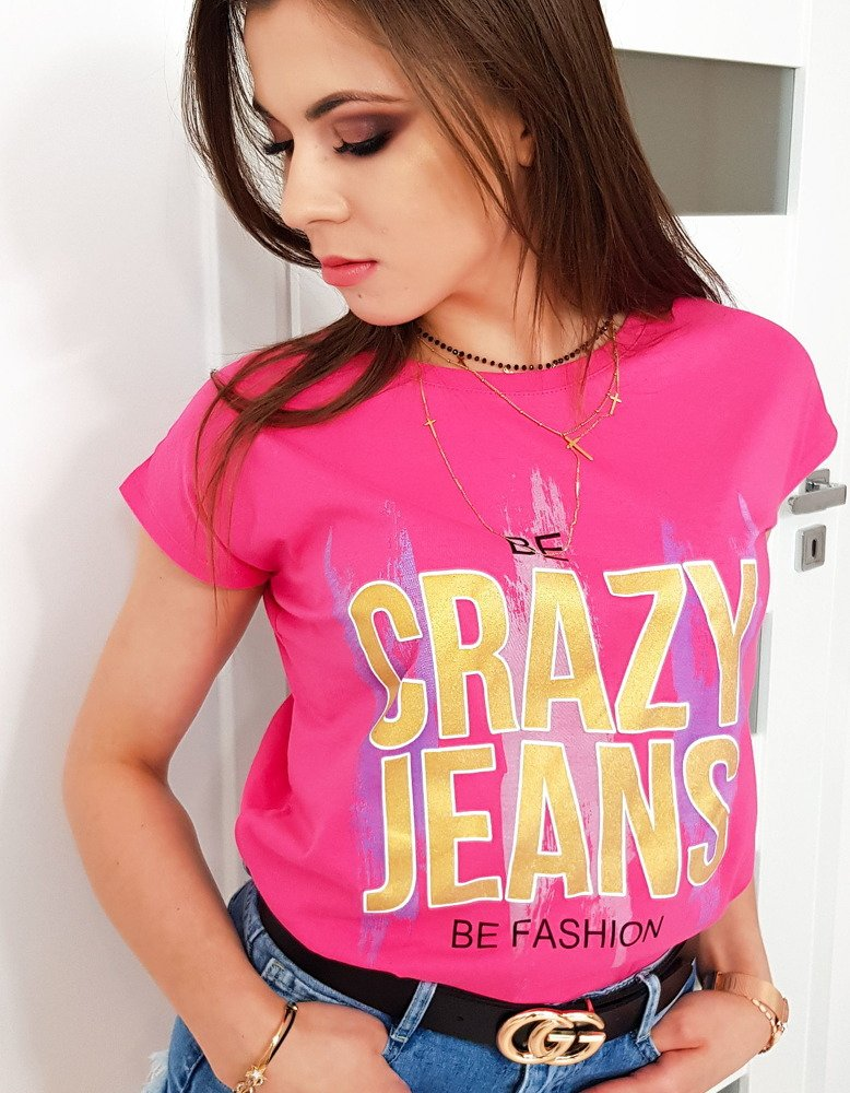 Dámske ružové tričko CRAZY JEANS (ry0956)