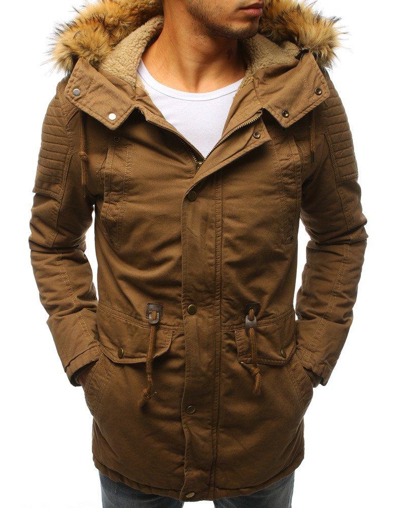 Pánska zimná béžová bunda s kapucňou (tx2980)