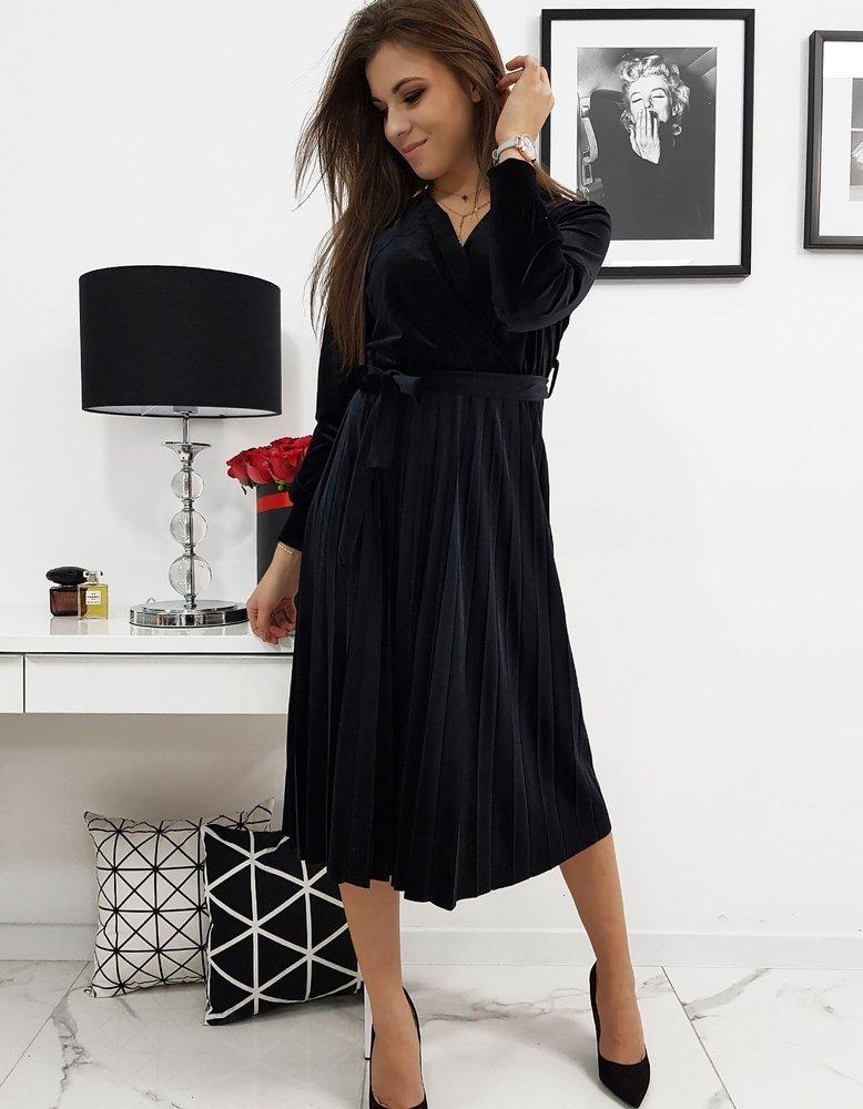 Jedinečné čierne dámske šaty EFECTO (ey1041)