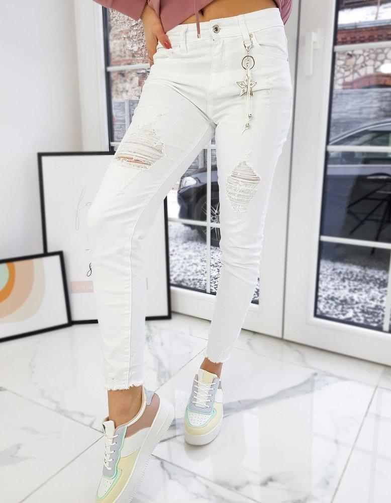 Spodnie damskie jeansowe OLYMPIA białe UY0721