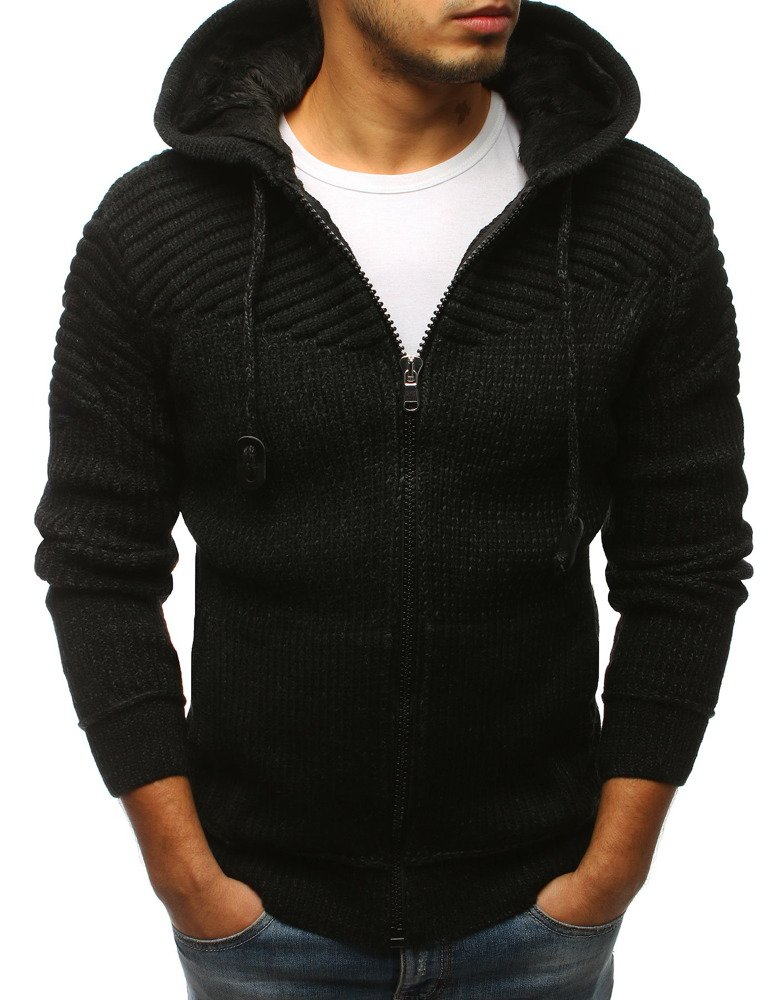 Čierny pánsky sveter s kapucňou (wx1242)