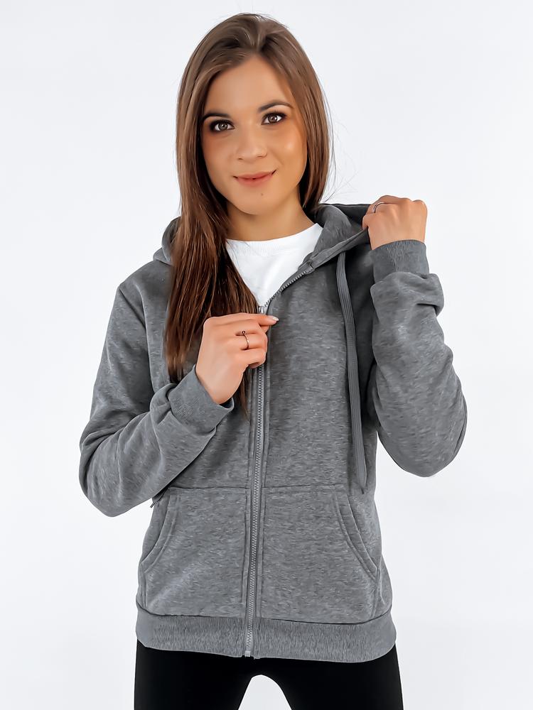 Bluza damska rozpinana z kapturem antracytowa BY0232