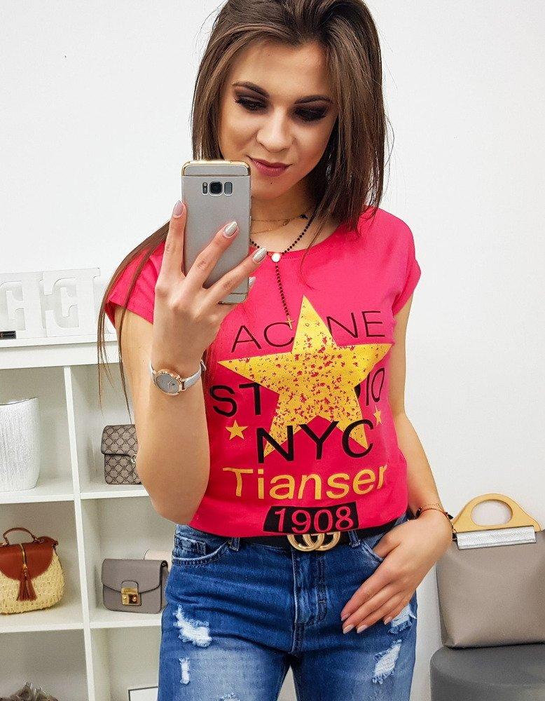 T-shirt damski STAR z nadrukiem malinowy RY0866