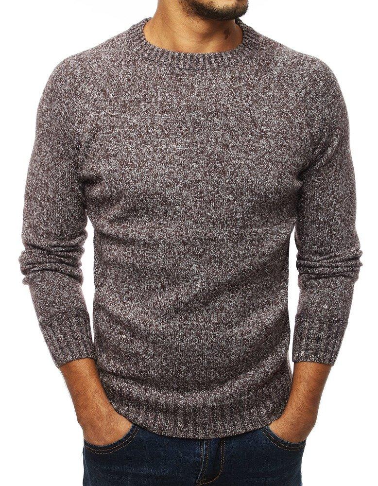 Pánsky sveter hnedý zo záplatami