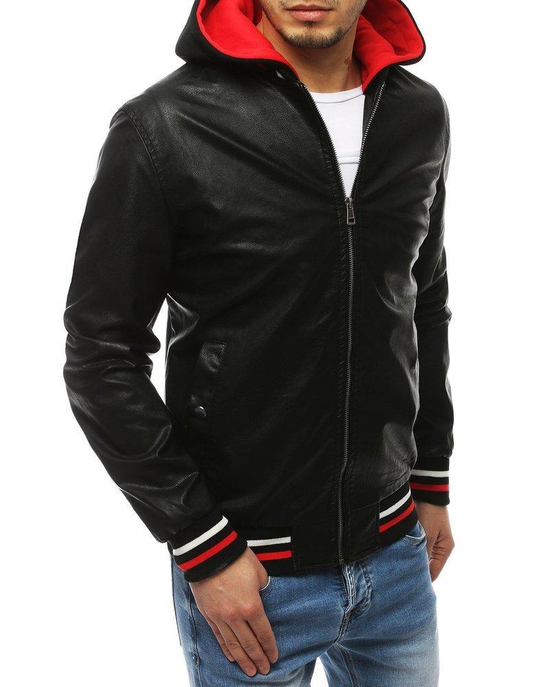 Čierna koženková bunda s kapucňou TX3282