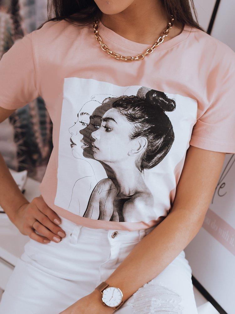 Jednoduché ružové tričko WOMEN s potlačou.