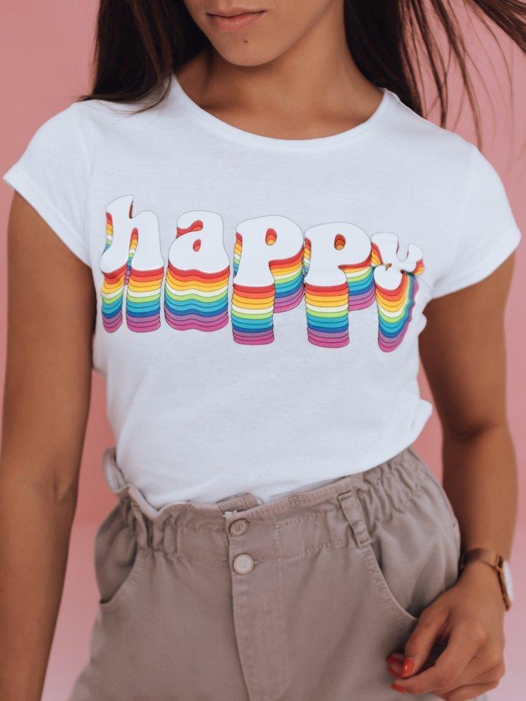 T-shirt damski HAPPY biały Dstreet RY1850