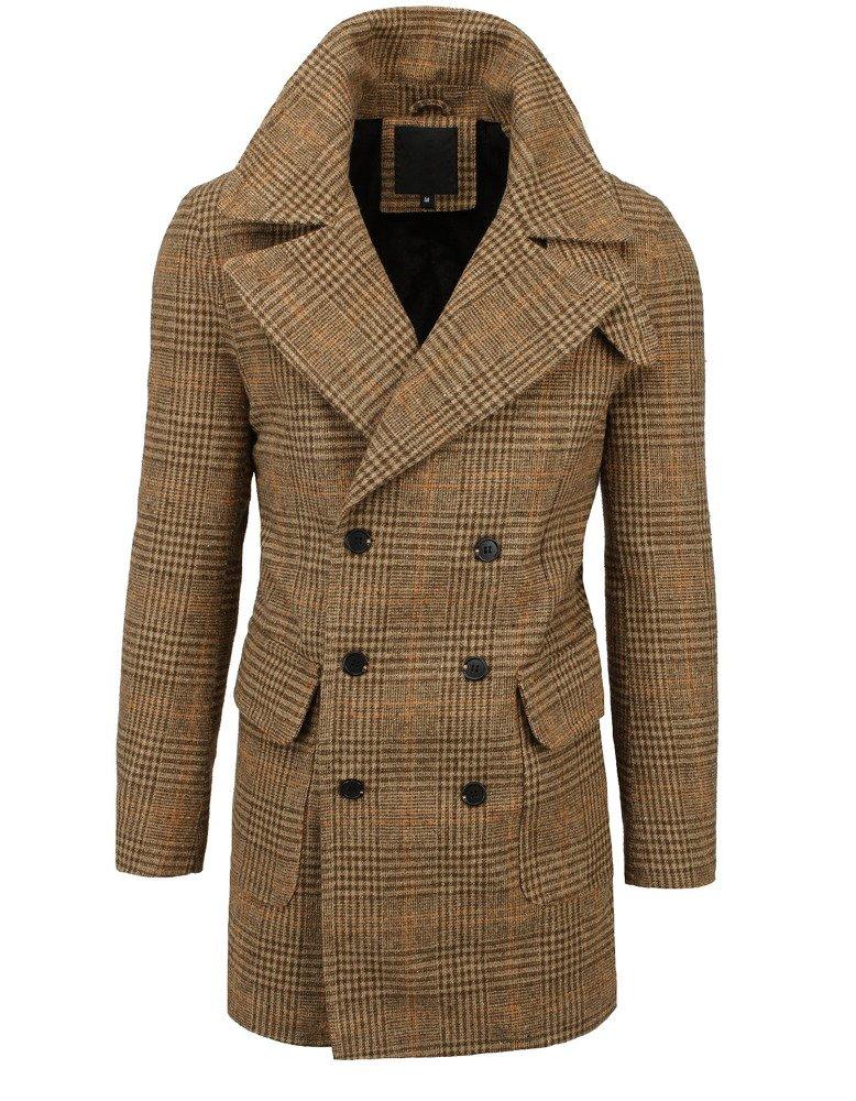 Pánsky hnedý károvaný kabát