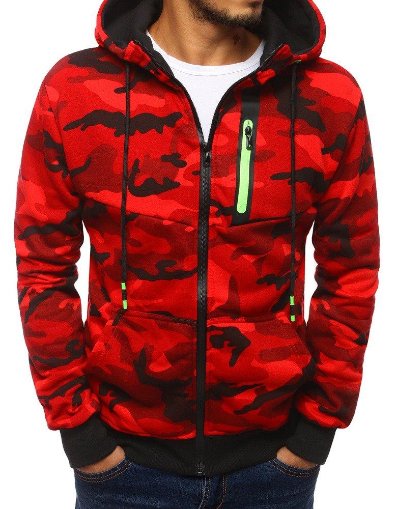 Bluza męska rozpinana z kapturem moro czerwona BX4039
