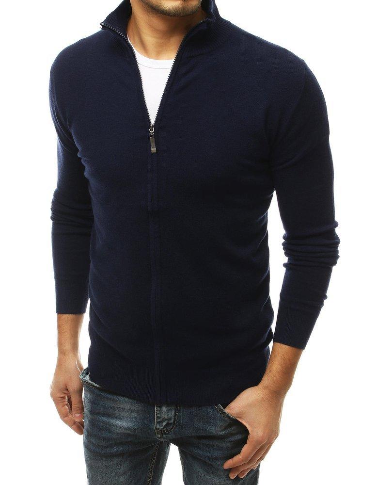 Pánsky granátový sveter na zapínanie.