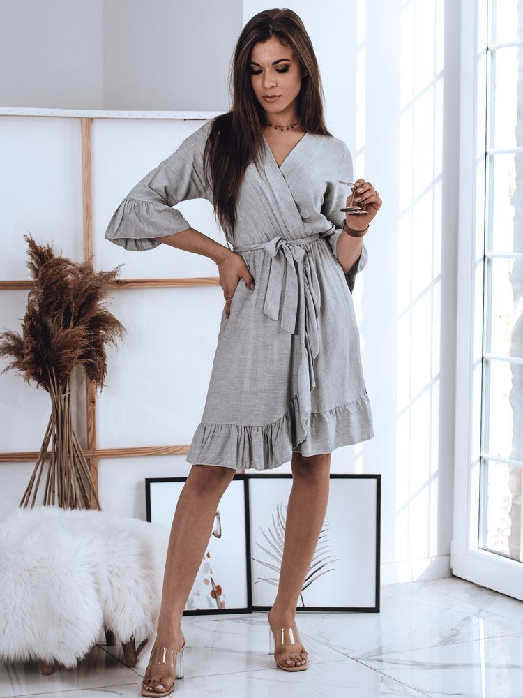 Svetlo šedé zavinovacie šaty
