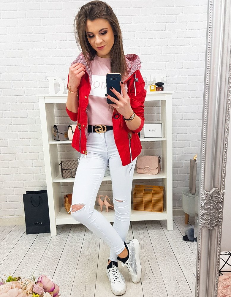 Obojstranná dámska bunda LASPE, červená