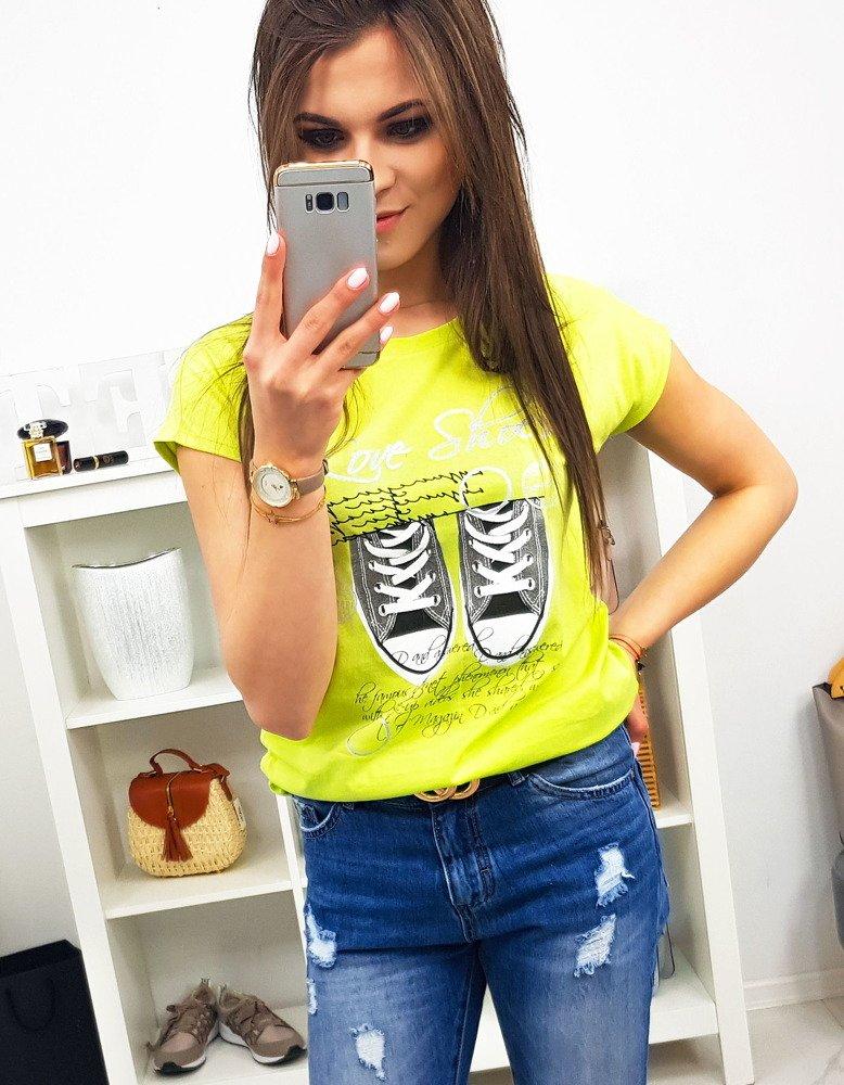 T-shirt damski SHOES z nadrukiem limonkowy (ry0986)