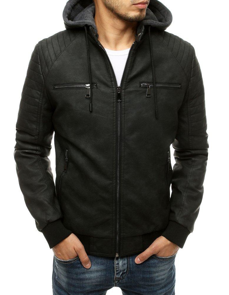 Čierna koženková bunda TX3515