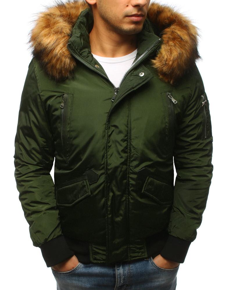 Pánska zelená bunda s kapucňou (tx2459)