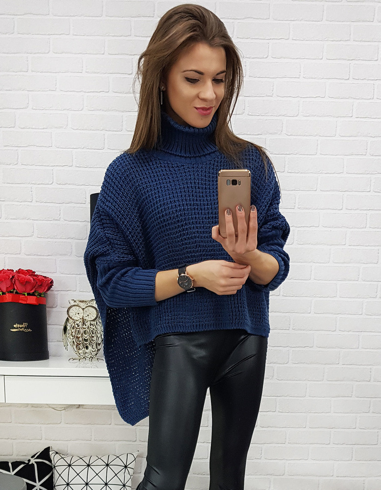 Krásny modrý dámsky sveter (my0522)