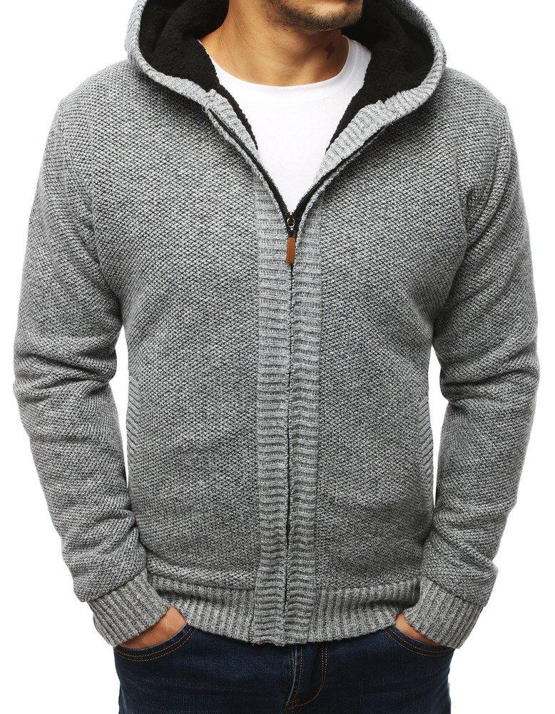 Oteplení pánsky sveter svetlo šedý