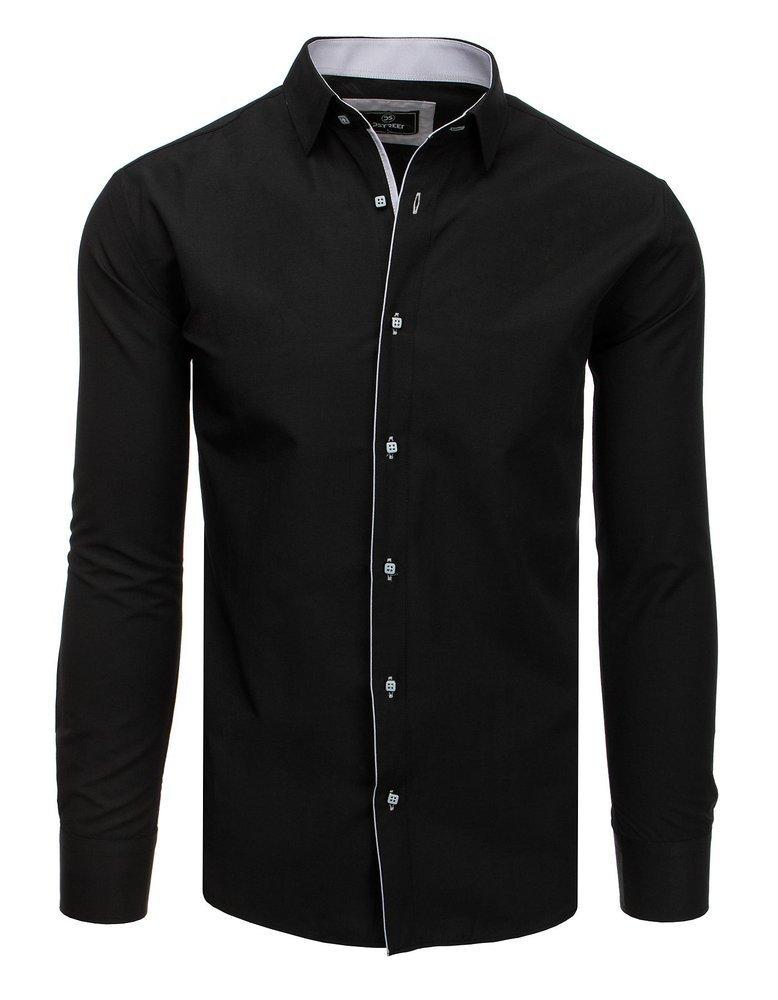 Elegantná panská košeľa s dlhý rukáv čierna