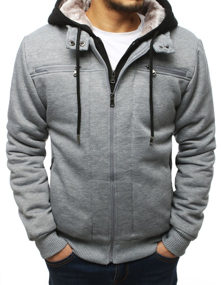 Bluza męska ocieplana z kapturem szara TX3070