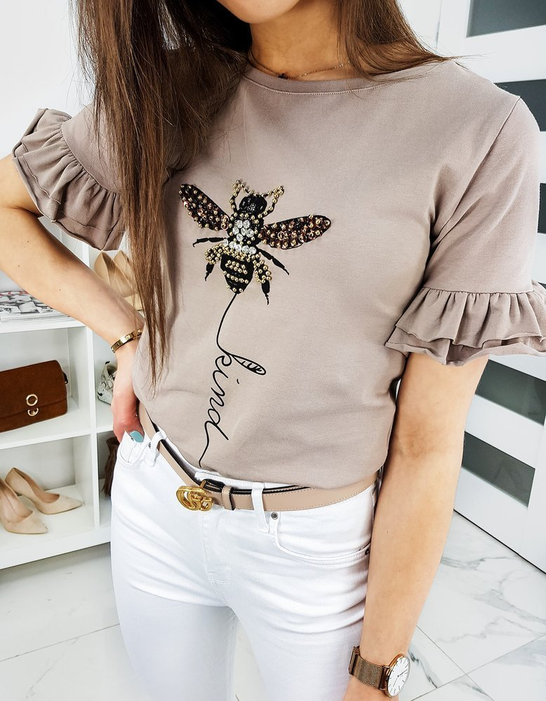 T-shirt damski LIND beżowy RY1258