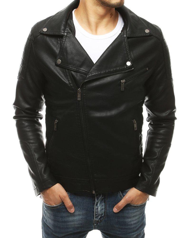 Čierna pánska koženková bunda TX3451