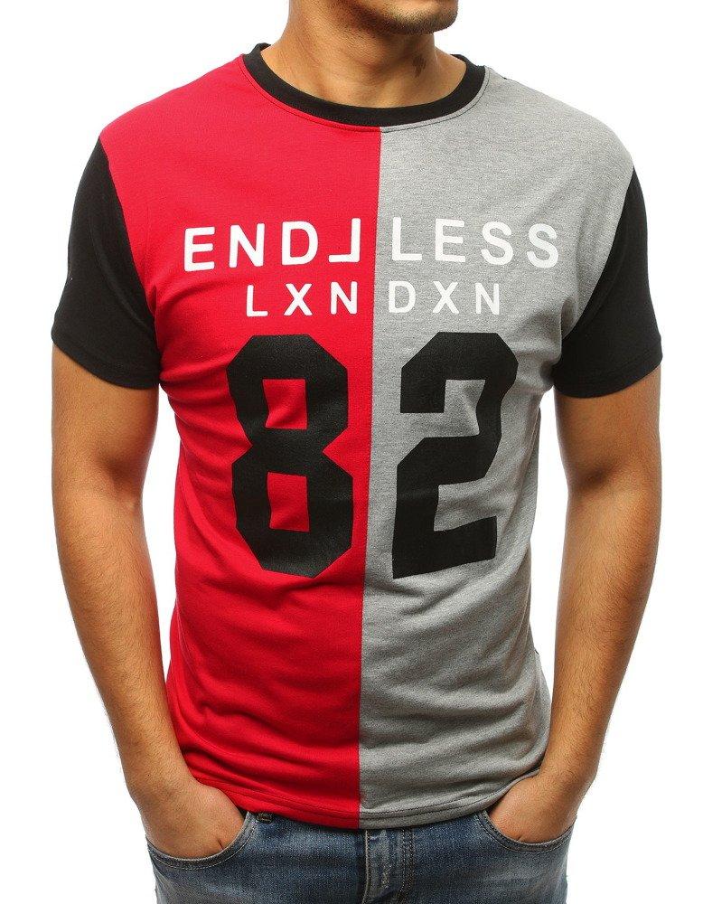 Červeno-šedé pánske tričko s potlačou (rx3037)