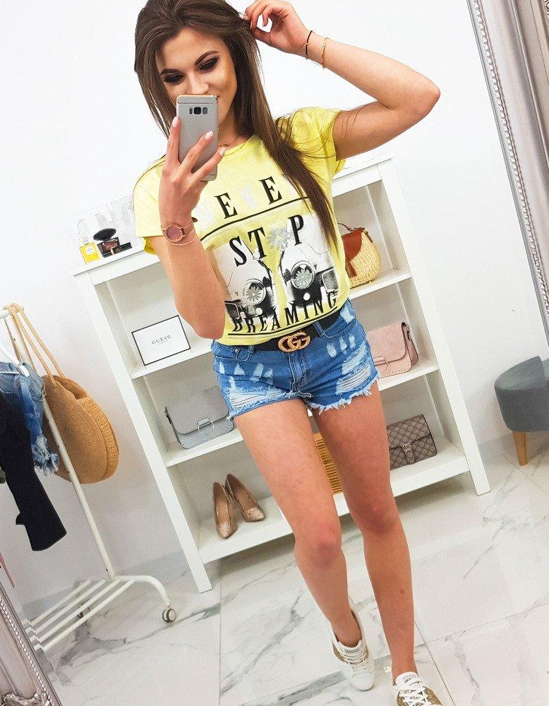 T-shirt damski z nadrukiem cytrynowy RY0916