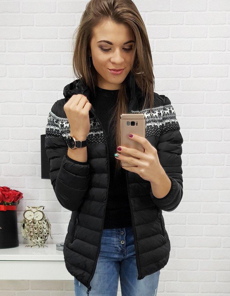 Čierna dámska bunda v trendovom prevedení (ty0424)