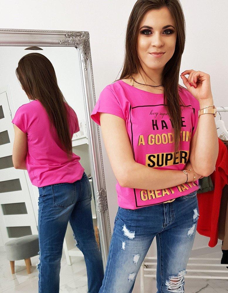 T-shirt damski z nadrukiem różowy (ry1026)