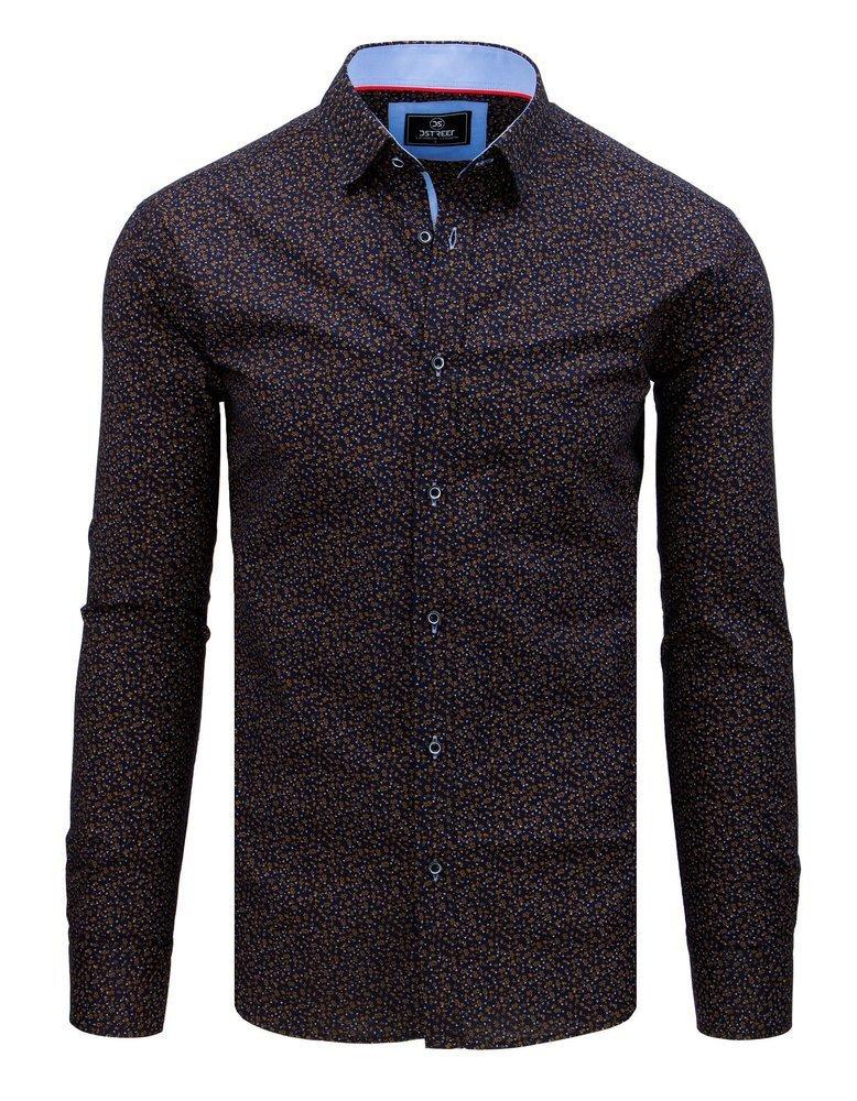 Košeľa so vzorom hnedo modrá