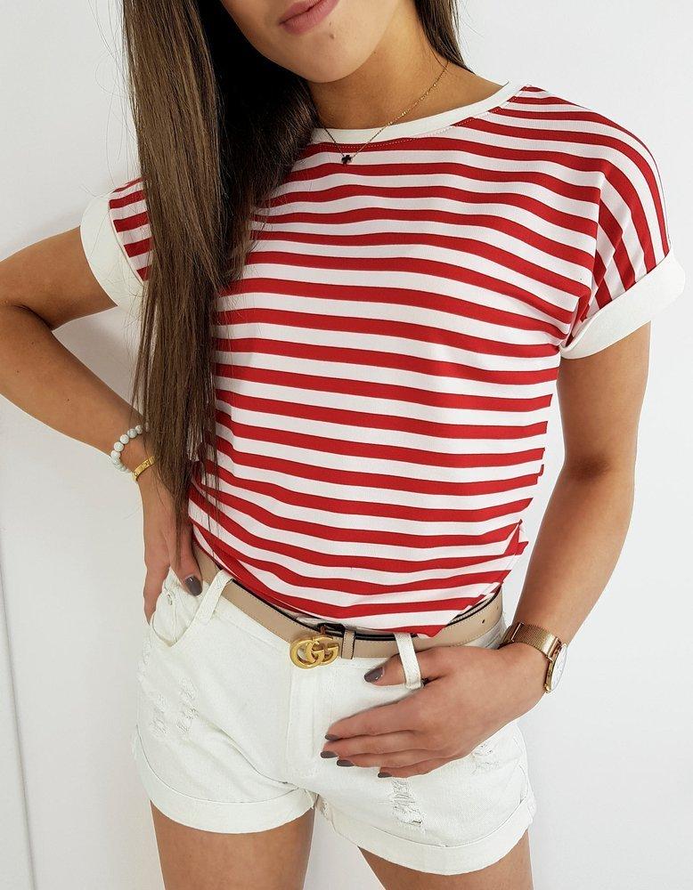 T-shirt damski PORTOS czerwony RY1370