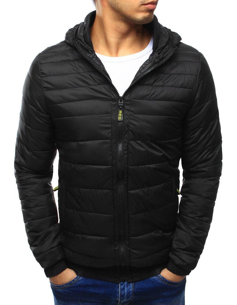 Pánska čierna bunda s kapucňou (tx1788)