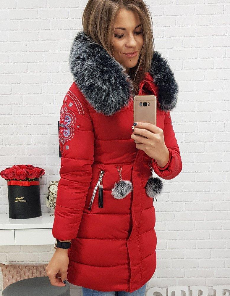 Pekná červená zimná bunda pre dámy (ty0402) skl.