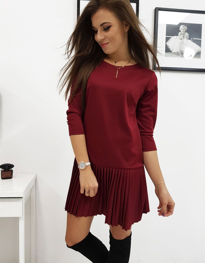 Šaty s plisovaným bordové