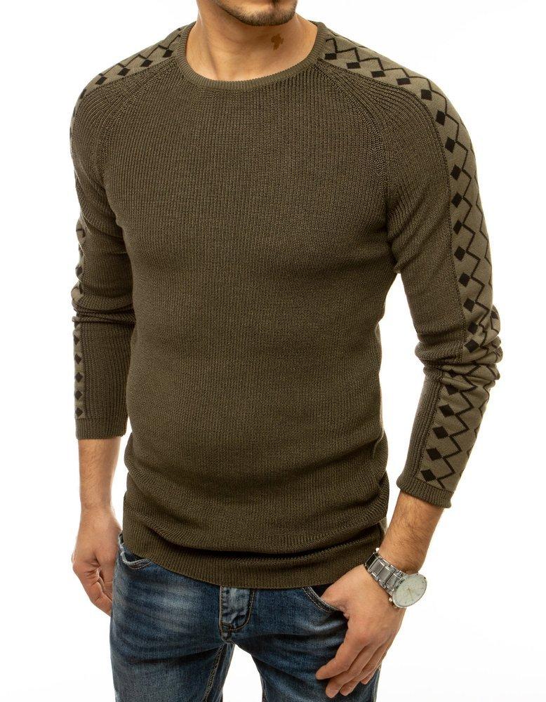 Pánsky khaki sveter v trendy prevedení.