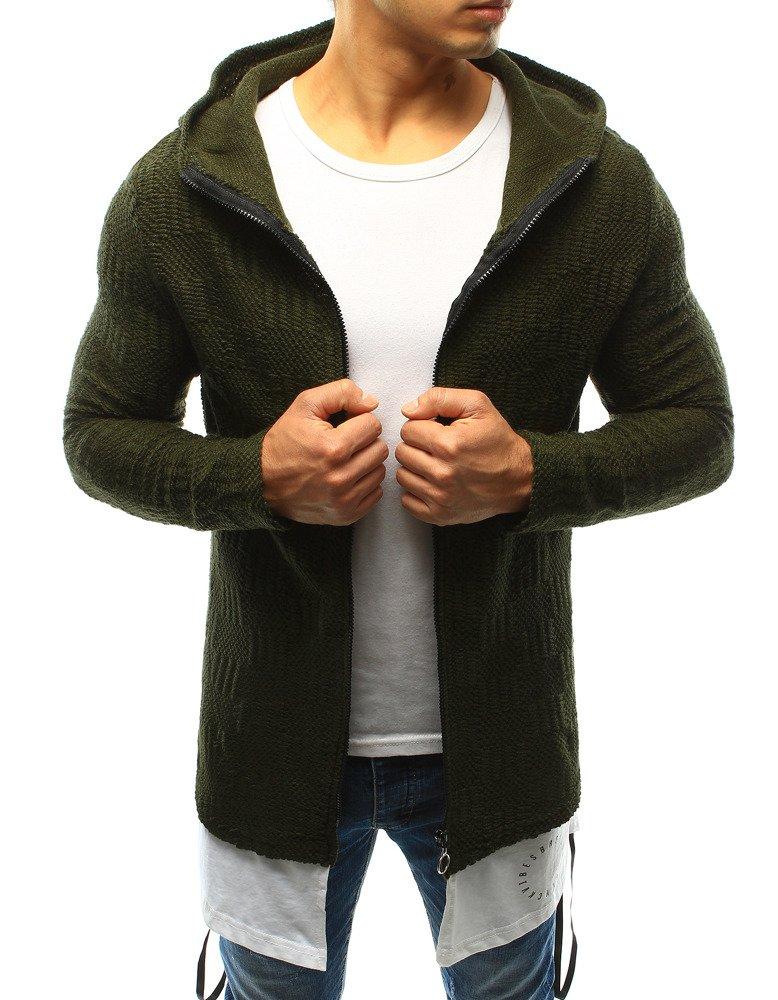 Zelený pánsky sveter s kapucňou (wx0920)