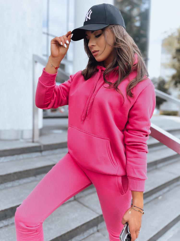 Bluza damska BASIC z kapturem różowy BY0173